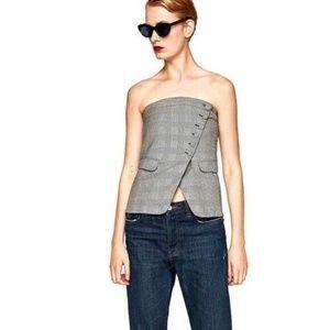 New Zara Houndstooth Asymmetrical Strapless Top